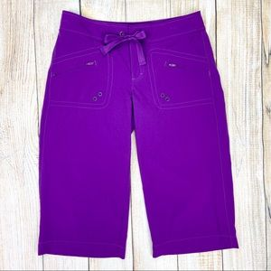 ATHLETA Purple Bermuda Shorts Polyester Spandex